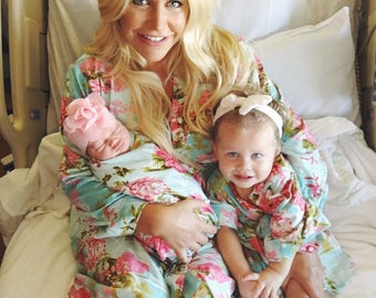 Mommy and me, to be moms robe, delivery robe, labor and birth, pregnancy robe set, floral delivery, birthing robe, maternity robe set