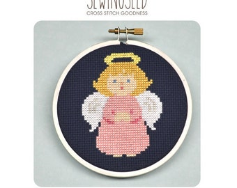 Little Girl Angel Cross Stitch Pattern Instant Download, DIY Embroidery