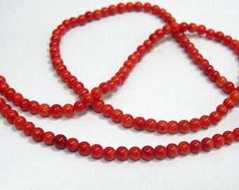 Coral 3mm in diameter, set of 10 Pcs bead