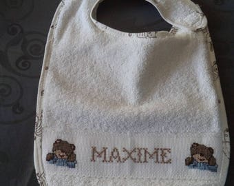 bib name Maxime cross-stitched entirely handmade