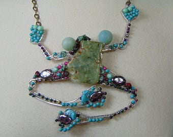 Sterling Silver Bejeweled Frog Necklace