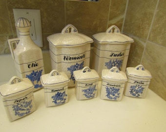 Vintage 1940's 1950's Set of 8 Dutch Netherlands DELFT Porcelain Kitchen Canisters Bottles Containers with Lids---0418--00011DNR