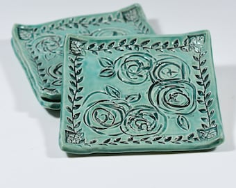 Ring Dish - Spoon Rest - Turquoise Roses Ceramic Tray