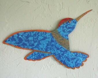 Metal Garden Art Hummingbird Sculpture Indoor Outdoor Wall or Stake Blue 8 x 15