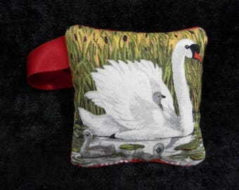 Pin and needle cushion - Swan and her cygnets