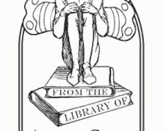 Adorable Sprite with Wings Custom Ex Libris Bookplate G15