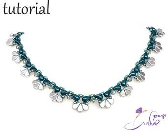 """Right Angle Weave necklace tutorial, Beading patterns, Beadwoven necklace, Beadweaving pattern, Patterns for necklace, """"AMOZOLI"""" necklace"""