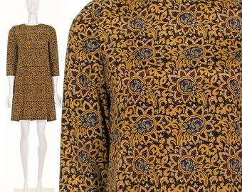 Psychedelic PAISLEY MINI Dress Ornate Print Above the Knee Dress Small Medium