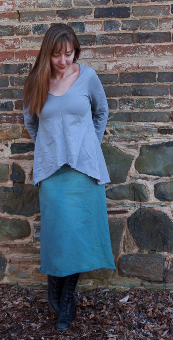 Go Anywhere Skirt in Organic Cotton Fleece, Winter A-line Skirt, Handmade Eco Friendly Skirt