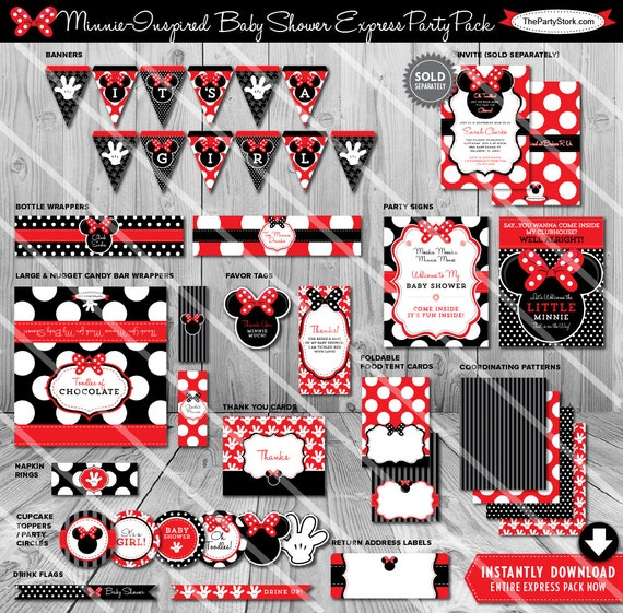 Minnie Mouse Baby Shower Decorations Red Baby Shower