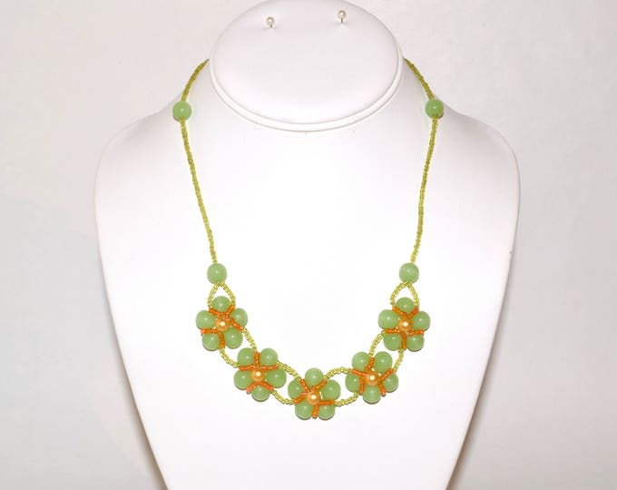 Light Green, Orange, and Yellow Faux Pearl Beaded Flowers Necklace- crafted by Nepalese human trafficking victims