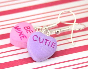valentine's day earrings conversation heart earrings kawaii polymer clay charms miniature food jewelry clay food sweetheart candy heart