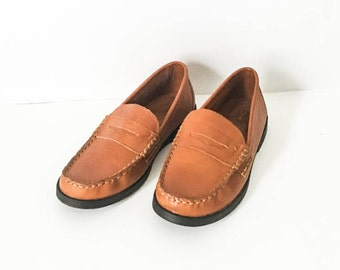 Cole Haan leather loafers 5 - Penny loafers - Preppy loafers - Cognac Penny loafers - Women's size 5 shoes - Cole Haan size 5
