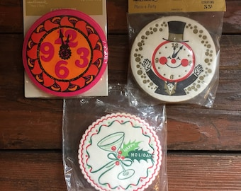 Holiday Paper Coasters / Vintage Party Supplies / Christmas Coaster / New Years Coaster / New in Package / Choose One