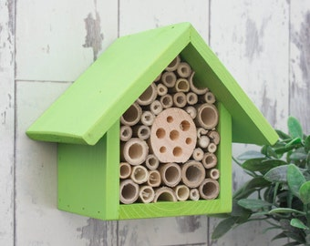 Mason Bee House and Insect Home, One Tier, in 'Sunny Lime'. Can be personalised