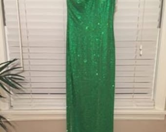 Show stopping! One shoulder green beaded gown