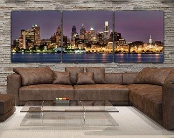 Philadelphia Skyline on Canvas, Large Wall Art, Philadelphia Print, Philadelphia art, Philadelphia Photo, Philadelphia Canvas, Panoramic