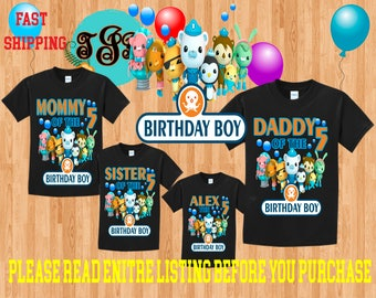 OCTONAUTS BOY birthday Family BLACK Theme Shirts Vacation Long Sleeve Short Sleeve Tank tops Toddler Tshirt