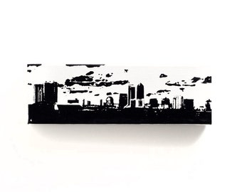 Jacksonville Florida Skyline Canvas (12 x 4 inches, White with Black) Florida City Skyline Screen Print & Painting Home Decor