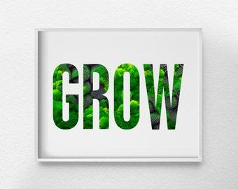 Grow Print, Nature Print, Spring Decor, Rock and Moss Art, Kitchen Art, Motivational Art, Inspirational Print, Garden Print, 0343