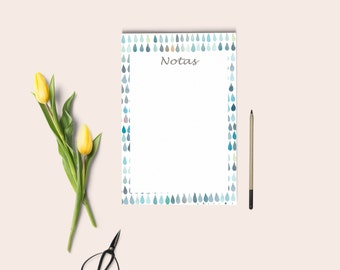 NOTES PAGE . Notepad blue, notes page, pocket notepad, to do list, notes inserts, A6 size. Notes pages blue.