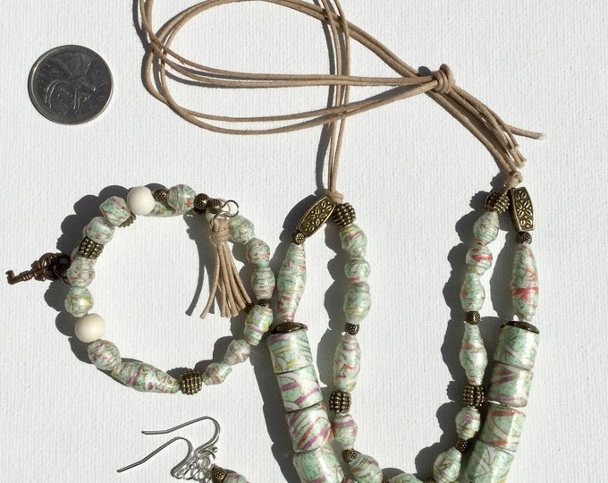 Mint Julep ~ Adjustible chiyogami paper bead double strand necklace, with matching earrings and bracelet