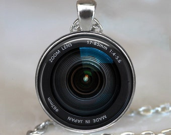 Camera Lens necklace, Camera lens pendant, camera lens jewelry, camera necklace, photographer gift, photographer key chain key fob