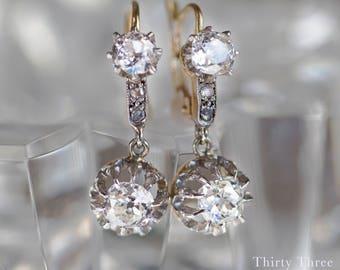 Belle Époque Diamond Drop Earrings | Edwardian Diamond Drop Earrings