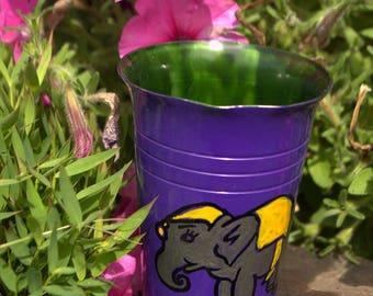 Kids decorative glass yellow elephant