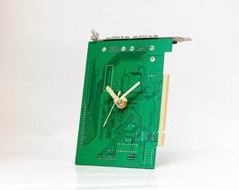 Green Circuit Board Clock, Small Desk Clock, Recycled Computer Clock, Unique gift, Boyfriend Gift, Husband Gift, Computer Geek Gift