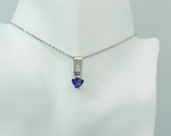 PENDANT 14K White Gold Man Made Tanzanite triangle with Cubic Zironium PEN14KWMMTCZ