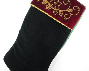 Red Velvet Christmas Stocking with Gold Colored Decorations