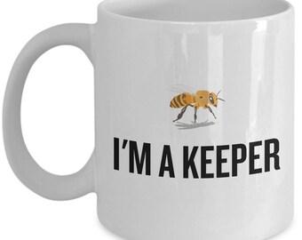 Beekeeping Present Idea - Gift For Beekeeper, Apiarist - Honey Bee Mug - I'm A Keeper