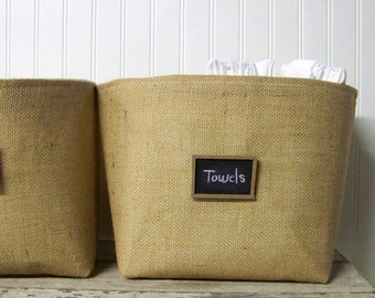 free shipping - large burlap chalkboard basket - burlap baskets - natural - organize - storage bin- fabric container - fabric baskets -