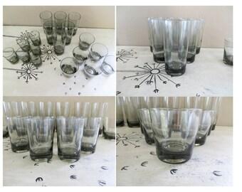 Morgantown Smoke Glassware Set Madmen Drinking Glasses Vintage Barware Retro Barware Smoke Barware Retro Glasses Smoke Glassware