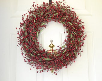 Red Berry Christmas Wreath for Front Door Holiday Decor