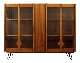 Mid Century Bookcase Danish Modern Walnut Display Cabinet Hutch Top On  Hairpin Legs