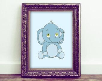 Elephant Decor, Elephant Nursery, Elephant Printable, Elephant Art Print, Baby Elephant, Nursery Decor, Baby Animals, Kids Room Decor
