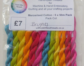 Assorted Coloured Hand Dyed Embroidery Threads - 6 Colour Packs (Brights, Indian Summer, Vintage, Pastels & Darks