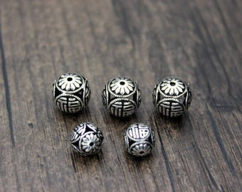9mm 10mm 12mm 14mm 16mm Sterling Silver Bead,Sterling Silver spacer bead,Thai Silver Beads spacer,good fortune,good luck, happiness beads