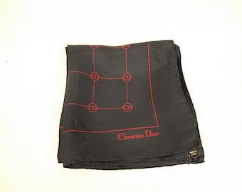 CHRISTIAN DIOR LOGO Scarf. Designer Christian Dior Logo Silk Scarf. Navy Silk Scarf.