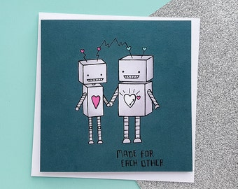 Cute Robots Card   Robots Anniversary Card   Cute Anniversary Card, Fun Anniversary, Geek Love   Cards for Her, Cards for Him   Love Cards