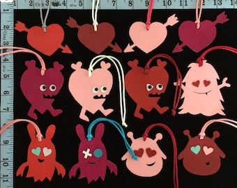 Valentine Collection Hearts and Monsters Leather Bag Charms