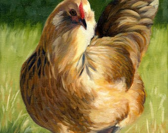 Americauna Hen, 8 x 10 original oil painting