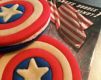 Captain America inspired Kids Birthday Party cookies; 4th of July Favors, Independence Day Cookie, USA, Captain America Shield, Memorial Day