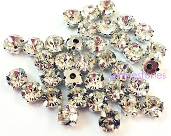 Montees Crystal Clear 500pcs Sew On Rhinestone 3mm, 4mm, 5mm, 6mm, 7mm