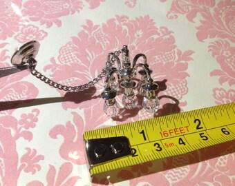 Dollhouse Miniature Silver Brass & Plastic Chandelier (non-electric)