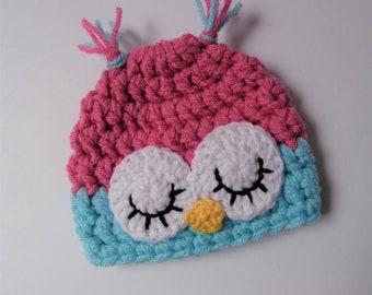 Ready to Ship Newborn Crochet Hat Knit Hat Sleepy Owl Hat Animal Hat Baby Hat Boy Hat Girl Hat Photo Prop