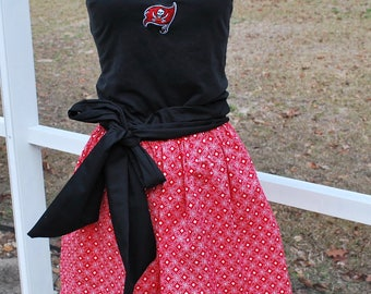 Tampa Bay Buccaneers Upcycled Shirt Made into Tank Top Dress with pockets, sash included Size L, Ready to Ship!