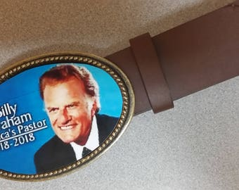 "BILLY GRAHAM ""America's Pastor""  Commerative Photo Epoxy Buckle & Brown Bonded Leather Belt - NEW!"